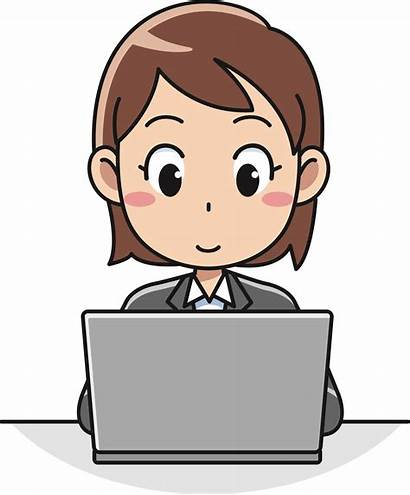 Clipart Office Clip Laptop Female Computer User