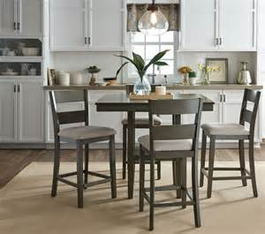 loft weathered grey 5 piece counter height dining room set