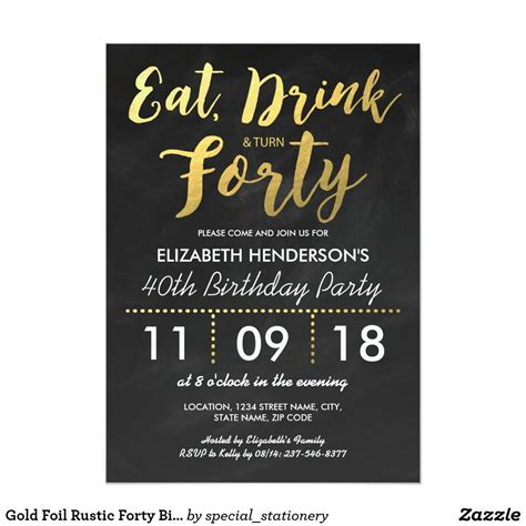Gold Foil Rustic Forty Birthday Party 40TH Invitation