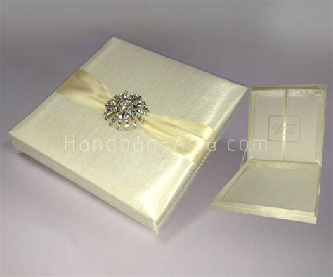 Luxury Ivory Silk Wedding Invitation Box With Large Brooch