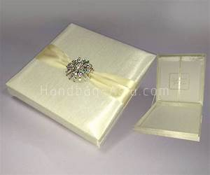Luxury ivory silk wedding invitation box with large brooch for Wedding invitation box cost