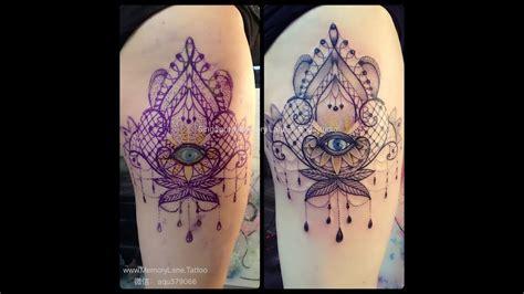 custom tattoo extension  dot work mandala lace