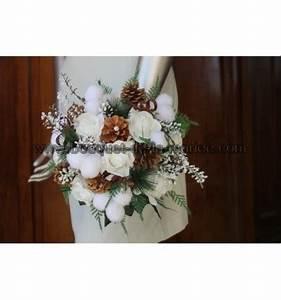 Bouquet Fleur De Coton : bouquet de mari e rond th me hiver blanc pomme pins boules de coton bouquet de la mariee ~ Teatrodelosmanantiales.com Idées de Décoration