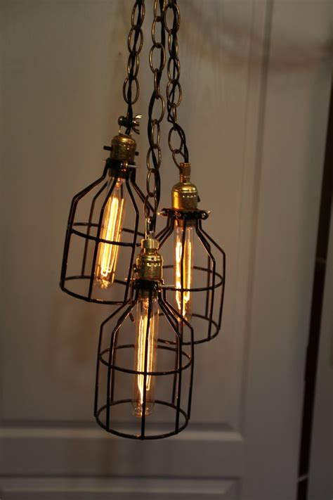 suspension wire for lights industrial wire cage ls hanging lights via etsy diy