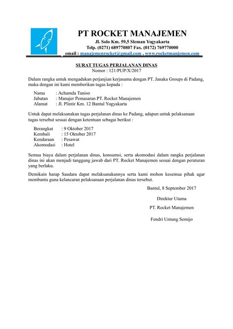 Surat Perjalanan Dinas contoh surat tugas perjalanan dinas dari