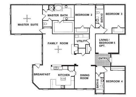 unique 4 bedroom house plans single story new home plans