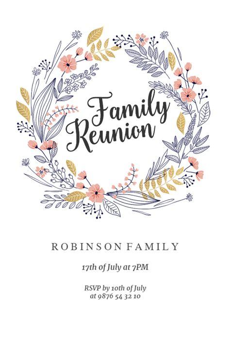 family wreath family reunion invitation template