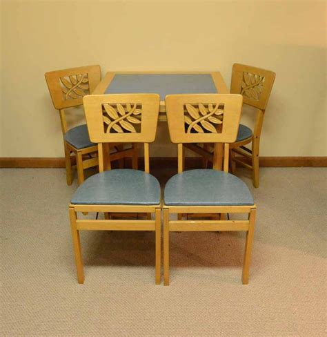 stakmore folding chairs vintage vintage stakmore card table with folding chairs ebth