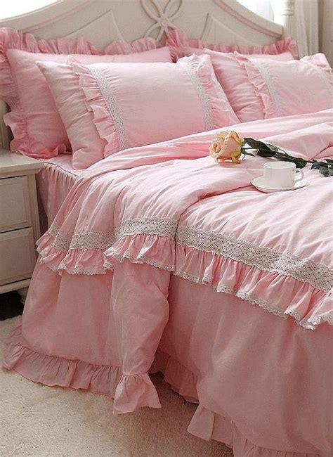 princess pink lace ruffle cotton bedding sets luxury