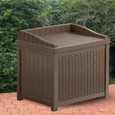 Suncast Small Deck Box by Suncast Plastic Small Deck Box With Seating 2 X 2 Java