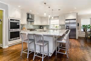 large eat in island transitional kitchen dallas by hatfield builders remodelers