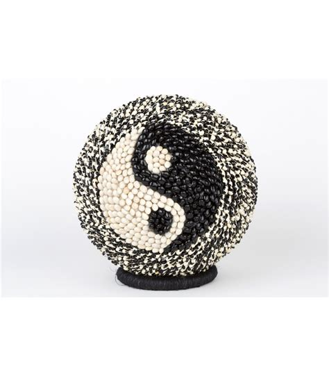 Fosil Motif Yin Yang handmade large sphere covered with seeds with a yin yang