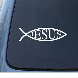 jesus fish 2 car truck notebook vinyl decal sticker With kitchen colors with white cabinets with fishing car stickers