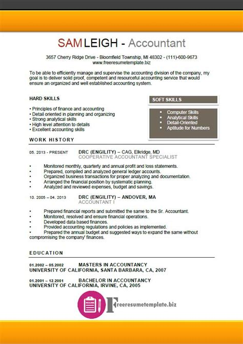 Accountant Resume Template by Accountant Resume Template Free Resume Templates