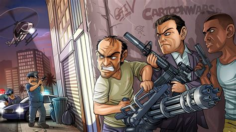 full hd wallpaper gta  main characters skirmish desktop