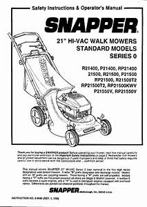 Snapper P21400 Lawn Mower Safety Instructions  U0026 Operator U0026 39 S