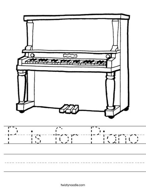 P Is For Piano Worksheet  Twisty Noodle