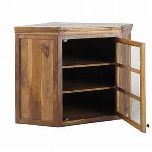 Meuble D Angle Haut Cuisine : meuble haut d 39 angle vitr de cuisine ouverture droite en bois de sheesham massif l 118 cm ~ Teatrodelosmanantiales.com Idées de Décoration