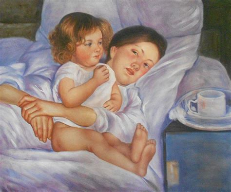 Breakfast In Bed  Mary Cassatt  Oil Reproduction