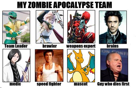 Zombie Apocalypse Team Meme - image 632204 my zombie apocalypse team know your meme