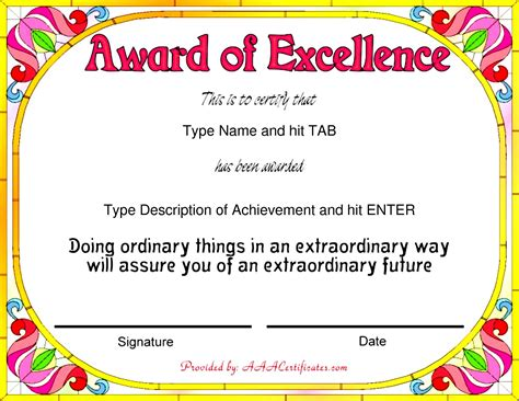 Award Template 43 Stunning Certificate And Award Template Word Exles