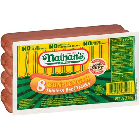 Nathan's Famous Bun-Length Skinless Beef Franks   Hy-Vee ...