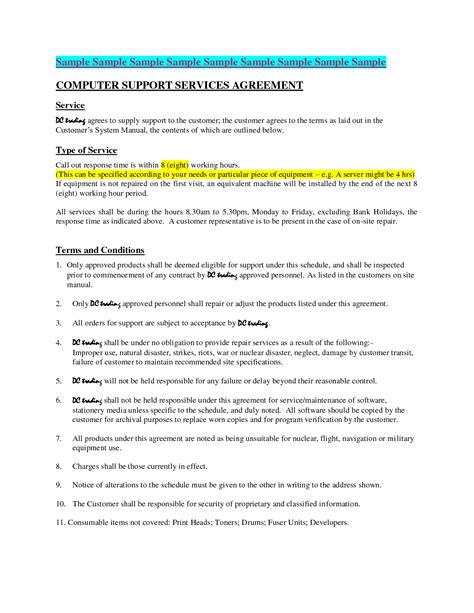 Computer Support Contract Template by Computer Maintenance Contract Sle Free Printable