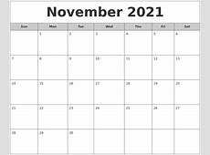 October 2021 Monthly Calendar Printable