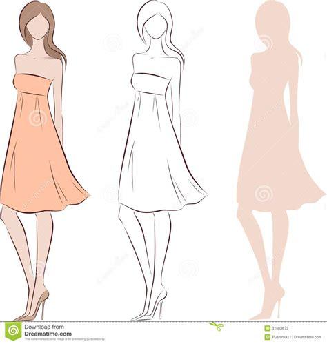Nuestras rebajas de vestidos de mujer de tus marcas favoritas de asos se convertirán en tus aliadas. Silueta para mujer ilustración del vector. Ilustración de ...