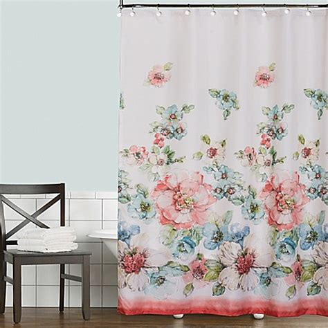 coral shower curtain coral watercolor shower curtain bed bath beyond