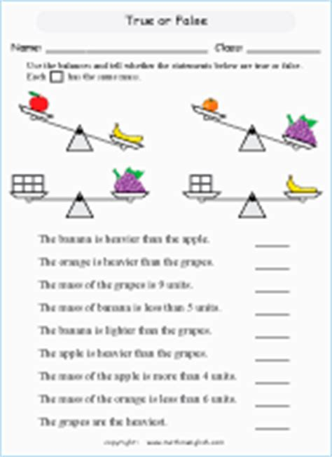 mass  weight measurement math worksheets  primary