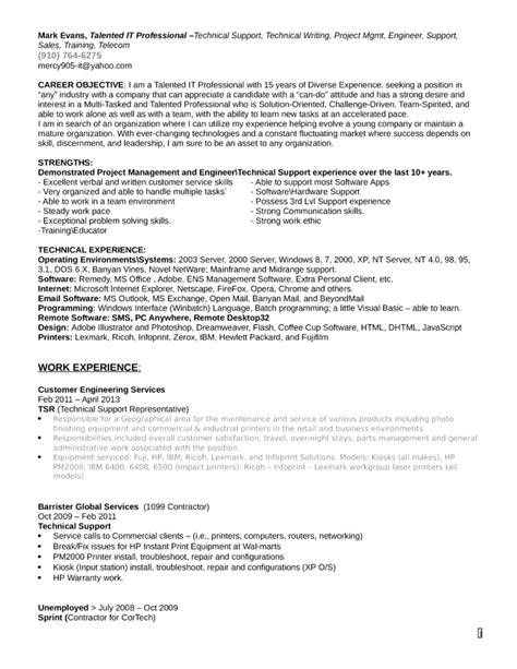 Technical Support Representative Resume by Technical Support Resume Exles Frudgereport294 Web