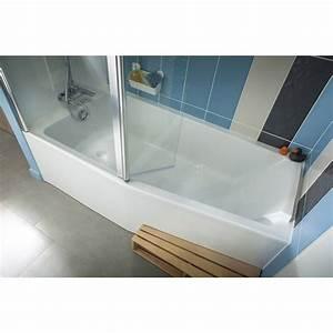 Baignoire L 160x l 85 cm, JACOB DELAFON Sofa bain et douche, vidage à gauche Leroy Merlin