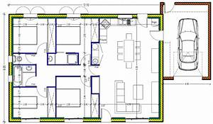 plan maison plein pied 100m2 rectangle 102 messages page 3 With plan de maison 100m2 3 plan de maison plain pied 3 chambres sans garage ideo