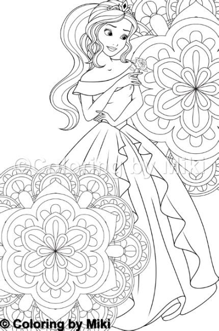 mandala  princess coloring page  coloring  miki