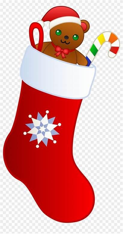 Stocking Christmas Clip Teddy Clipart Transparent
