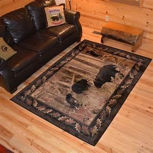 rug, empire, rustic, lodge, bear, family, cubs, cabin, black, multicolored, area, rug, , 7, u0026, 39, 10, x, 9, u0026, 39, 10