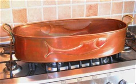 antique   copper fish poacher steamer brass handles pot pan cookware sold collectable china