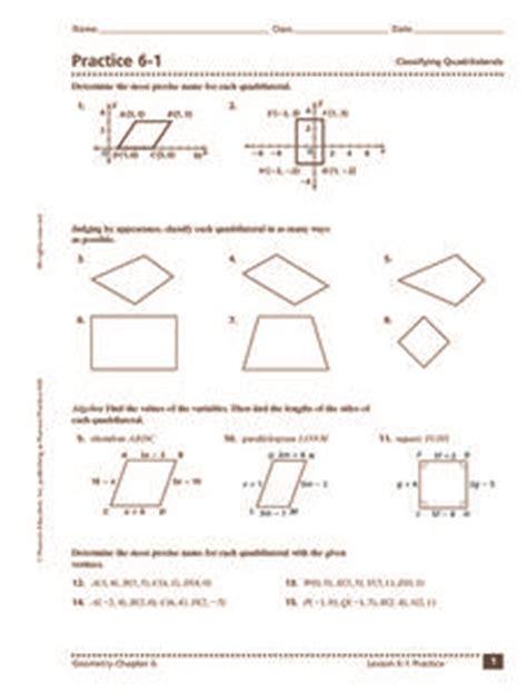 practice   classifying quadrilaterals worksheet