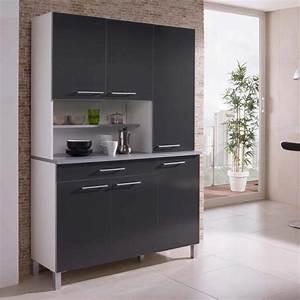 Buffet de cuisine avec 6 portes et 1 tiroir largeur 120cm for Deco cuisine avec buffet salle a manger noir et blanc