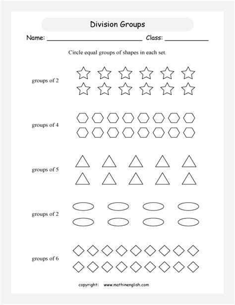 division worksheets equal groups count shapes and divide them in groups introduction to division math activity and worksheet for