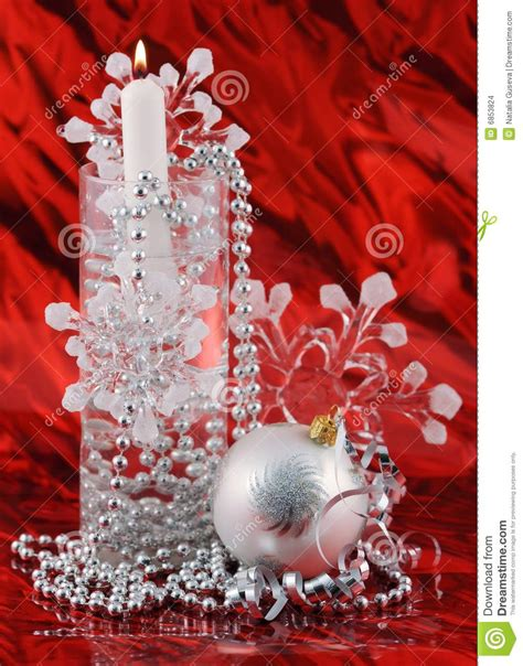 silver christmas decoration  red background stock images