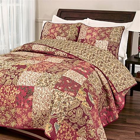 bed bath and beyond bedspreads and quilts buy stanfield quilt set in burgundy from bed