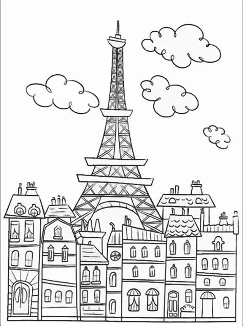 paris buildings  eiffel tower paris adult coloring pages