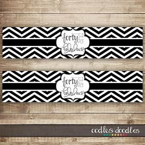 40th birthday water bottle labels black and white chevron for Black and white water bottle labels