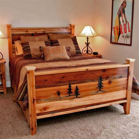 rustic beds queen size barnwood bed  tree carvings