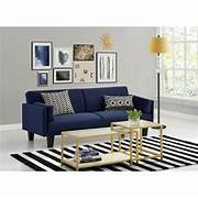 Futon For Living Room by Ameriwood Metro Microfiber Convertible Sofa In Navy Blue 2034619