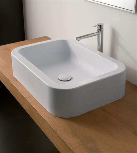 Modern Deep Rectangular Ceramic Vessel Sink By Scarabeo