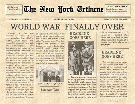 Classic Newspaper Template by Vintage Front Page Newspaper Template Instant For