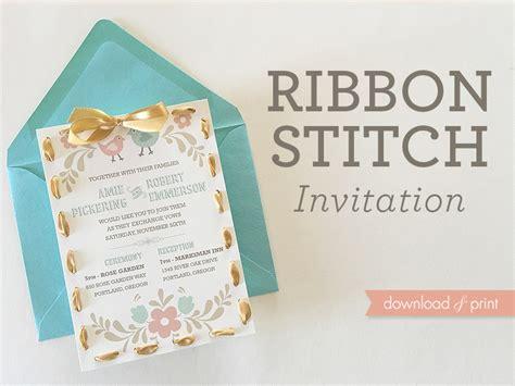 Ribbon Stitch Handmade Wedding Invitation